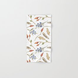 Rustic brown blue green watercolor berries Autumn floral Hand & Bath Towel