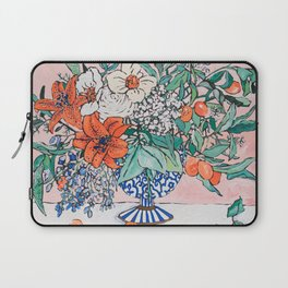California Summer Bouquet - Oranges and Lily Blossoms in Blue and White Urn Laptop Sleeve