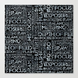 Photography Terms Word Pattern Glass on Black Canvas Print
