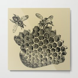 Vintage Bee & Honeycomb Metal Print