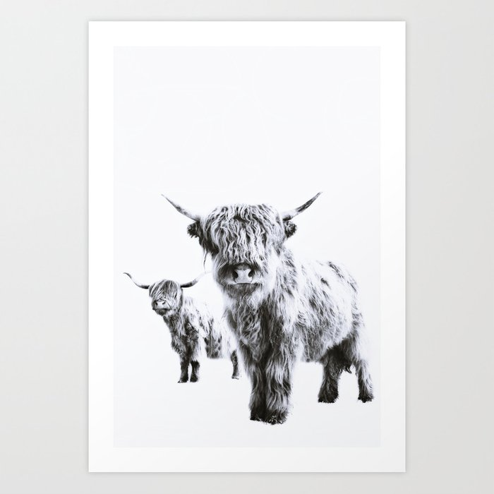 HIGHLAND COW - LULU & SARA Art Print by monikastrigel