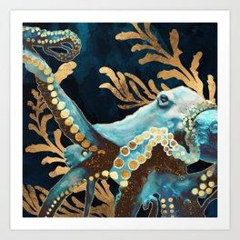 Indigo Octopus Art Print