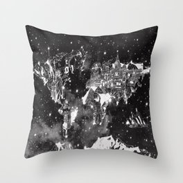 world map galaxy black and white Throw Pillow
