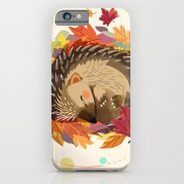 Hedgehog in Autumn Leaves iPhone Case