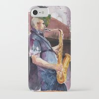 saxophone iPhone & iPod Cases featuring Playing saxophone by aurora villaviejas