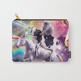 Laser Eyes Space Cat On Cow Unicorn - Rainbow Carry-All Pouch
