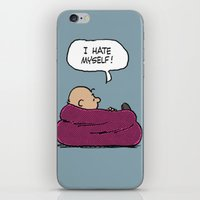 "charlie brown iPhone & iPod Skins featuring Charlie Brown ""I Hate Myself"" Quote by TOM / TOM"