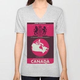 Canada Vintage map cover. Unisex V-Neck