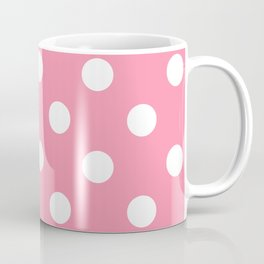 Polka Dots - White on Flamingo Pink Coffee Mug