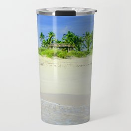 Tropical Sandy Palm Tree Beach Travel Mug