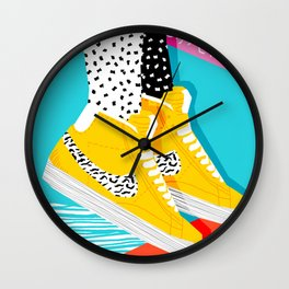 Kid You Not - memphis retro shoes fashion throwback 80s style trends minimalist art neon Wall Clock