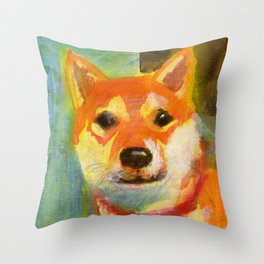 Shibainu on canvas Throw Pillow
