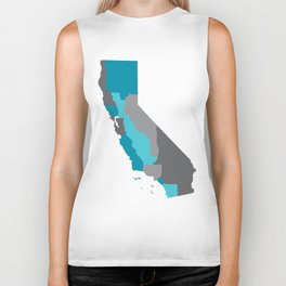 I Love California - California State Map Print Biker Tank
