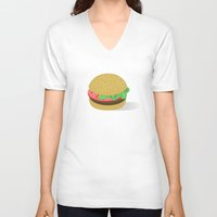 hamburger V-neck T-shirts featuring Hamburger by brittcorry