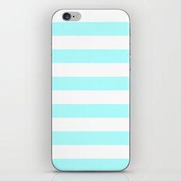 Horizontal Stripes - White and Celeste Cyan iPhone Skin