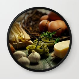 Fresh Pasta and ingredients Wall Clock