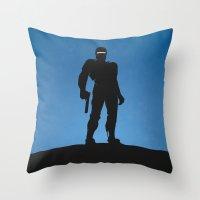 robocop Throw Pillows featuring RoboCop by Nick Kemp