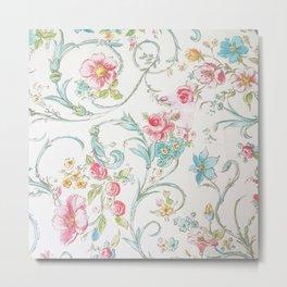 Vintage pink teal watercolor bohemian floral pattern Metal Print