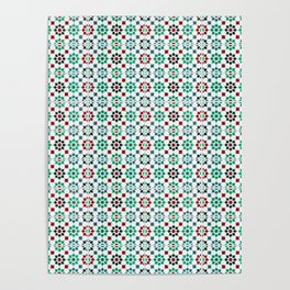 Seamless Pattern Oriental Style 2 - Mosaic Green / Red Poster