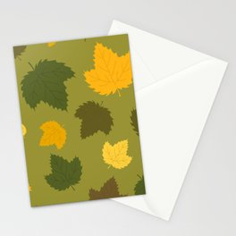Autumn Hops Leaves on Green Stationery Cards