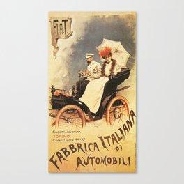 Vintage Poster, car fabrica italiana de automobili, vintage poster Canvas Print