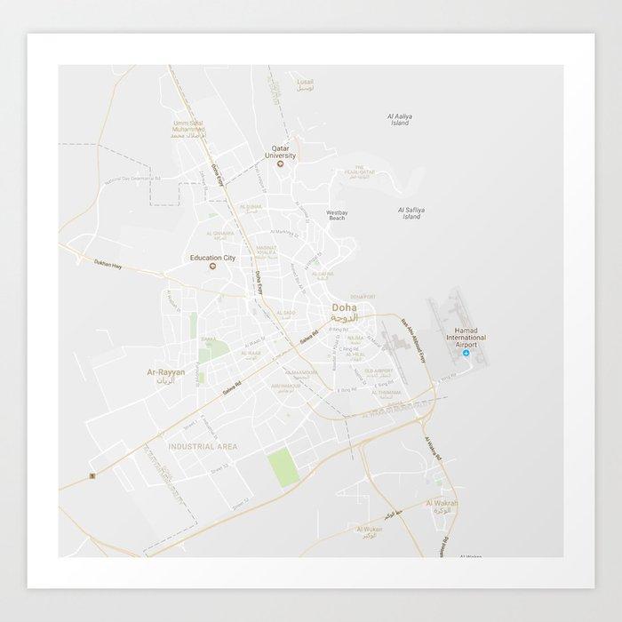 Minimalist Modern Map of Doha, Qatar 3 Art Print on lilongwe area map, beijing area map, cairo area map, kowloon area map, warsaw area map, bahrain area map, macau area map, berlin area map, hyderabad area map, hangzhou area map, bilbao area map, alexandria area map, rotterdam area map, phnom penh area map, baghdad area map, kyoto area map, mosul area map, qatar area map, narita area map, kuala lumpur area map,
