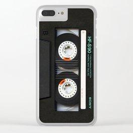 Retro classic vintage Black cassette tape Clear iPhone Case