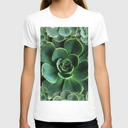 JADE GREEN SUCCULENT ROSETTES DESIGN T-shirt