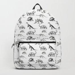 Museum Animals | Dinosaur Skeletons on White Backpack