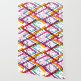 Leaves contours, Rainbow bright magenta pink orange turquoise lilac purple modern trendy pattern Wallpaper