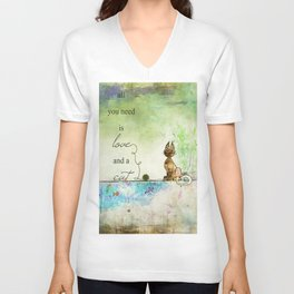 All You Need is Love and  a Cat ~ Ginkelmier Unisex V-Neck