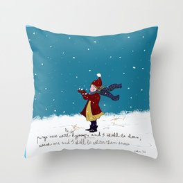 Snow day with bible verse Throw Pillow