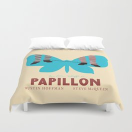 Papillon, Steve McQueen vintage movie poster, retrò playbill, Dustin Hoffman, hollywood film Duvet Cover