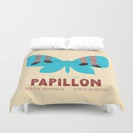 Papillon, Steve McQueen vintage movie poster, retrò playbill, Dustin Hoffman, hollywood film Duvet Cover