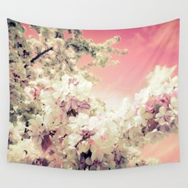 Peachy Pink Lavender Flowers Wall Tapestry