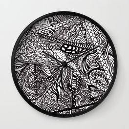 Black white Abstract Paisley doodle geometric pattern Wall Clock