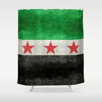 "islam Shower Curtains featuring The Syrian ""independence flag""  retro style version by Bruce Stanfield"