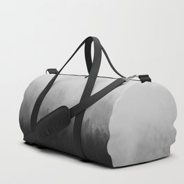 Minimalist Modern Black And white photography Landscape Misty Black Pine Forest Watercolor Effect Sp Duffle Bag
