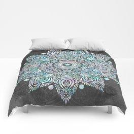 Mermaid Mandala on Deep Gray Comforters