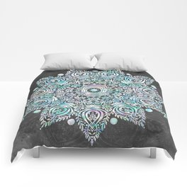 Mermaid Mandala on Deep Gray Comforters