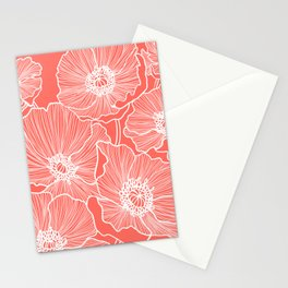 Coral Poppies Stationery Cards