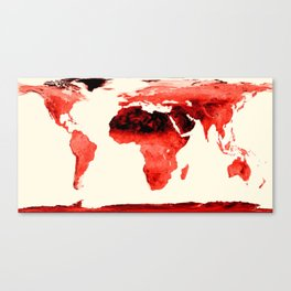 World Map brick red Canvas Print