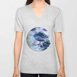 Navy Blue, Teal and Royal Purple Marble Unisex V-Neck