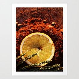 Orange and Coffee Art Print