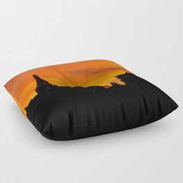 London Sunset in sillouette bywhacky Floor Pillow