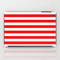 stripes iPad Cases featuring Horizontal Stripes (Red/White) by 10813 Apparel