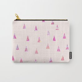 Geometrical abstract pink teal watercolor marble triangles Carry-All Pouch