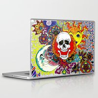 sun and moon Laptop & iPad Skins featuring Sun, Moon, and Skull. by Allyson Travis
