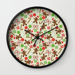 Gingerbread Men & Candy Wall Clock