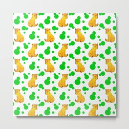 Little bears. Cute adorable funny baby bear cubs bold green retro dots white seamless pattern Metal Print
